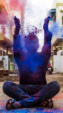 Young Man In Holi Colors. Holi...