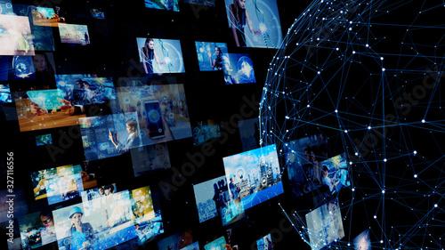Obraz 映像とネットワーク - fototapety do salonu