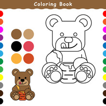 A Cute Bear Is Eating Honey, A Coloring Book