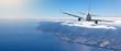 Leinwandbild Motiv Back view of commercial airplane