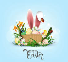 Happy Easter Vector Element For Design.eggs In Green Grass With White Flowers Isolated On White Background.Vector Greeting Card, Ad, Promotion, Poster, Flyer, Web-banner, Article,Vector 3D Style
