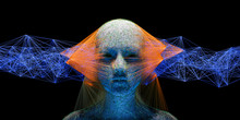 Abstract Digital Human Face Wi...