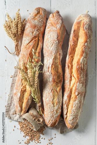 Fototapeta Crunchy french baguettes freshly baked in bakery obraz