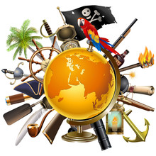 Vector Pirate Concept With Globe