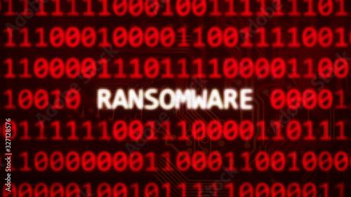 Obraz Ransomware text on random binary code red screen - computer technology words series 3D render - fototapety do salonu