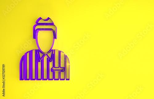Purple Hockey judge, referee, arbiter icon isolated on yellow background Canvas Print