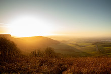 Winter Sunset Landscape At Sutton Bank In Yorkshire England