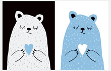 Cute Hand Drawn Vector Illustration With Bear Holding Heart. Sweet Nursery Art For Card, Invitation, Father's Or Mother's Day. Big White Polar Bear On A Black Background. Blue Teddy Bear On A White.