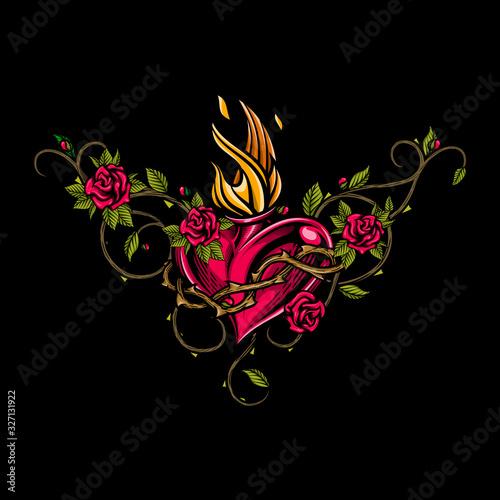Fotografía Sacred heart with floral arrangement