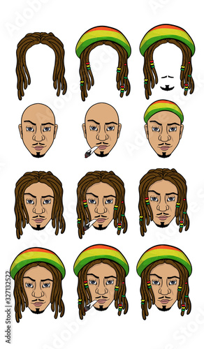 set of heads and hairstyles with dreadlocks фототапет