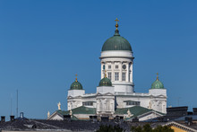 View To St. Nickolas Cathedral In Helsinki, Finland