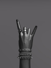 Rock Hand Sign, Black Female H...