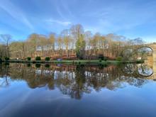 Knaresborough Railway Viaduct Winter River Reflection