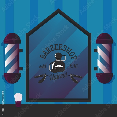 Barbershop Vector Illustration For Banner Sign Badge Or Shop Label Design With Cologne Bottle Barber Pole Shaving Brush And Straight Razor Icon Templates For Hair Salon Logo With Blue Background Buy