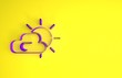 Leinwandbild Motiv Purple Sun and cloud weather icon isolated on yellow background. Minimalism concept. 3d illustration 3D render