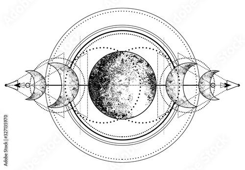 Fotografia Triple moon pagan Wicca moon goddess symbol