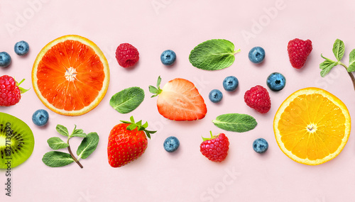 Fresh berry and fruit mix border frame banner of various ripe berries and mint leaves on pink background. Flat lay. Fruit pattern - 327139390