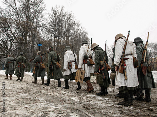 Obraz na plátně Winter military-historical festival dedicated to the Second World War and the st