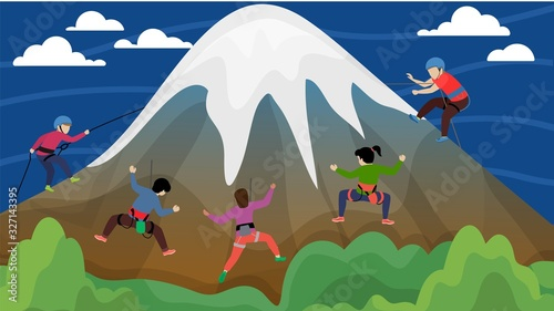 Equipped group of people alpinists men women climbing hillside high mountain with snow peak vector illustration flat style Tableau sur Toile