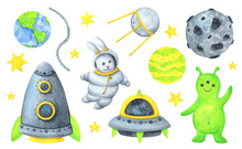 Astronaut, Alien, Rocket, Satellite,asteroid, Stars, Planet. A Collection Of Watercolor Illustrations About A Spacewalk. Isolated Objects On A White Background. Intergalactic Travel For Children