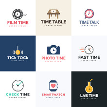Flat Logo Vectors Of Time Pack