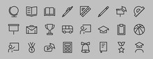 A Simple Set Of School Items. Contains Icons Such As Student, Award, Geography, Physical Education, Geometry And More. On White Background. Editable Stroke. 480x480