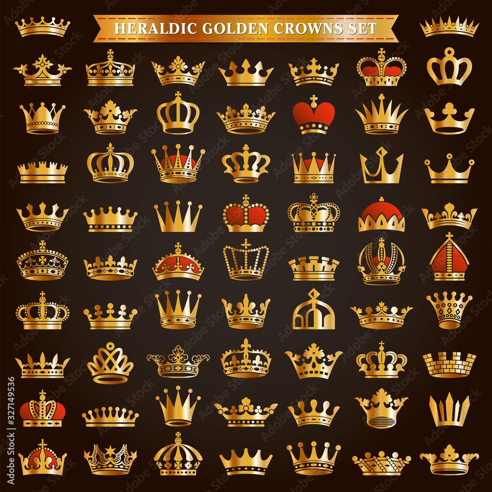 Fototapeta Big set of golden crown icons