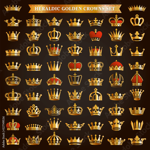Fototapeta Big set of golden crown icons