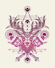 Vector Illustration Deer Head ...