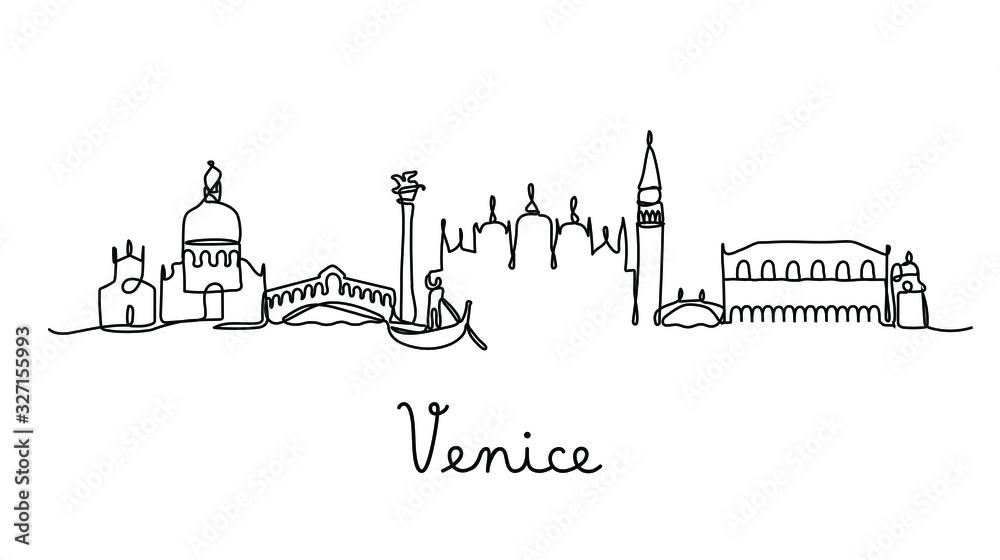 Fototapeta One line style Venice city skyline. Simple modern minimaistic style vector.