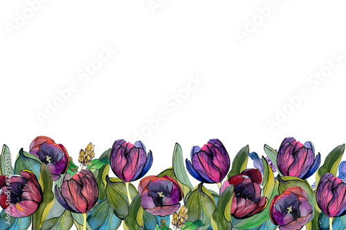 asymmetric border of tulips and leaves Canvas Print