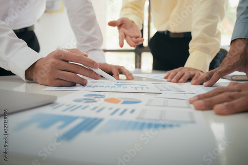 Businessmen teamwork meeting to discuss the investment. Canvas Print