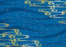 和柄 流水紋 青