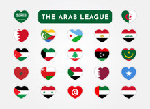 Set Of The Arab League Countries Flag In Heart Shape