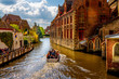 canvas print picture - Canal and Buildings in Bruges, Belgium