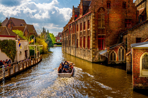 Canal and Buildings in Bruges, Belgium
