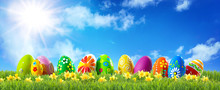 Colorful Easter Eggs On Green ...