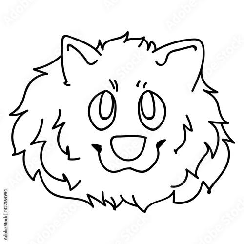 Valokuva Cute cartoon monochrome lineart pomeranian face dog breed vector clipart