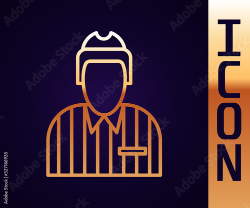 Gold line Hockey judge, referee, arbiter icon isolated on black background Wallpaper Mural