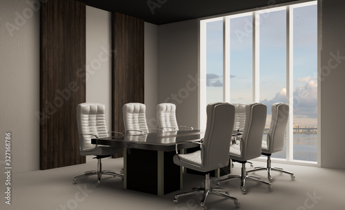 Fototapeta meeting room with a large window and wood paneling on the walls. Large table and office chairs.. 3D rendering. obraz