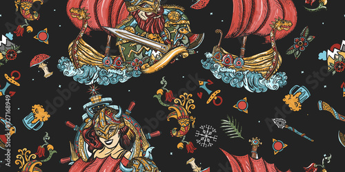Vikings seamless pattern Canvas Print