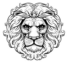 A Lion Head Or Face Looking Very Fierce, Regal And Noble In A Retro Vintage Woodcut Style.