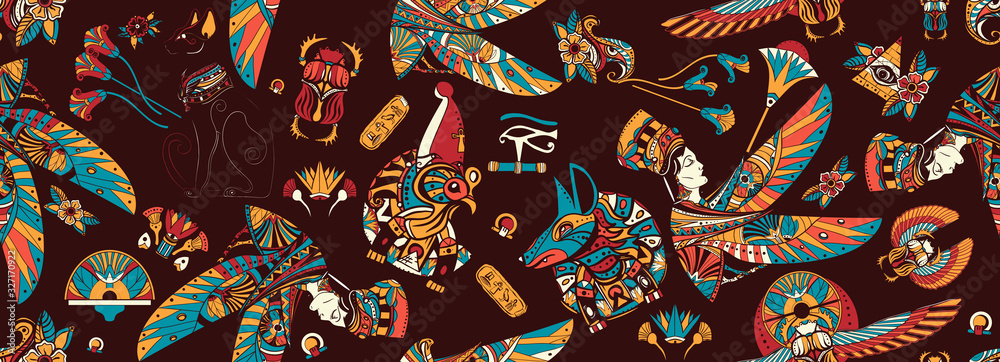 Ancient Egypt seamless pattern. Egyptian civilization background. Old school tattoo style. Anubis, Ra horus, black cats, queen Cleopatra, eye Horus. History art