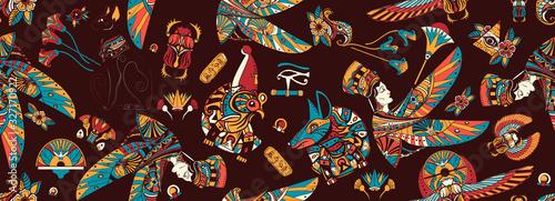 Fototapeta Ancient Egypt seamless pattern. Egyptian civilization background. Old school tattoo style. Anubis, Ra horus, black cats, queen Cleopatra, eye Horus. History art obraz