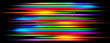 Panoramic glowing blurred light stripes in motion over on abstract background. Rainbow rays. Led Light. Future tech. Shine dynamic scene. Neon flare. Magic moving fast lines. Glowing wallpaper.