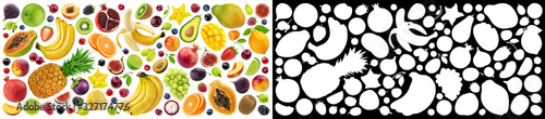 Photo Fruits and berries collection with alpha channel