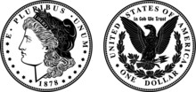 High Quality 1878 One Dollar Coin Black And White Vector Enchanted Detail