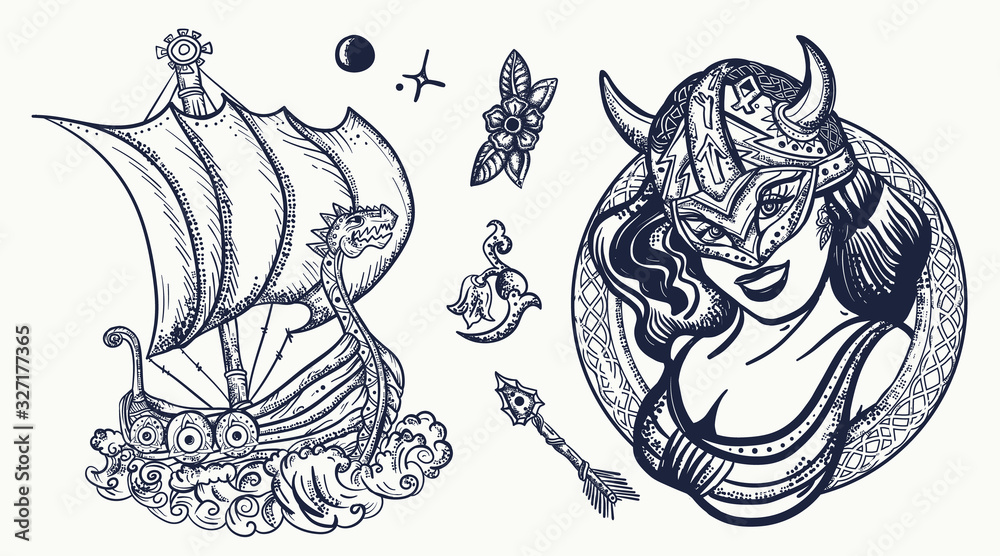 Vikings tattoo collection. Medieval long boat, woman warrior. Scandinavian culture. Valhalla art. Northern history