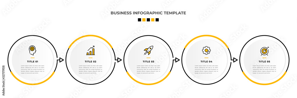 Fototapeta Minimal Modern Minimalist Business Infographics template with circle shape. 5 steps / option timeline with icons. For presentation, process, diagram, workflow, chart. Vector with orange, black