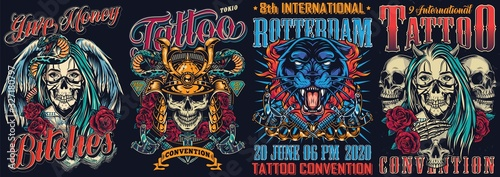 Fototapeta Vintage tattoo fests colorful posters obraz